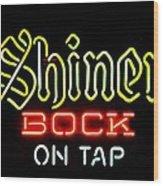 Shiner Bock On Tap Wood Print