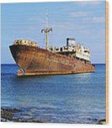 Shipwreck On Lanzarote Wood Print