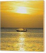 Silhouette Fisherman Are Taking Fishing Boat Wood Print