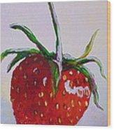 Single Strawberry Wood Print