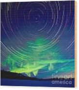 Star Trails And Northern Lights In Night Sky Wood Print
