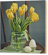 Still Life With Yellow Tulips Wood Print