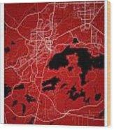 Sudbury Street Map - Sudbury Canada Road Map Art On Colored Back Wood Print