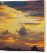 Sunset Sky By Artist Nature Wood Print