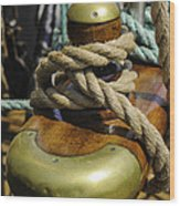 Tall Ship Rigging Vertical Wood Print