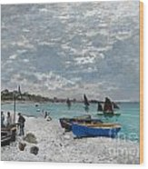 The Beach At Sainte-adresse Wood Print