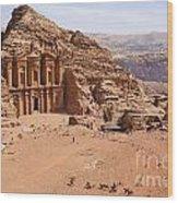 The Monastery At Petra In Jordan Wood Print by Robert Preston