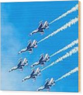 Thunderbirds And Blue Sky  Wood Print