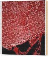 Toronto Street Map - Toronto Canada Road Map Art On Colored Back Wood Print