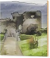 Tourists And The Path At Ruins Of The Urquhart Castle Wood Print