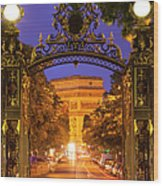 Twilight At Arc De Triomphe Wood Print