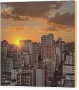 Twilight In Sao Paulo Wood Print