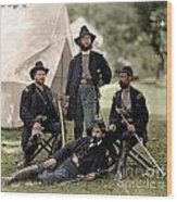 4 Union Officers Of The 4th Pennsylvania Cavalry Wood Print