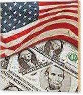 Usa Finance Wood Print