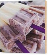 Vanilla And Blueberry Popsicles Wood Print by Teri Virbickis