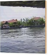 View Of Lake Resort Framed From The Top Of A Houseboat Wood Print
