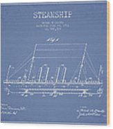Vintage Steamship Patent From 1911 Wood Print