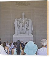 Visitors At The Lincoln Memorial Wood Print