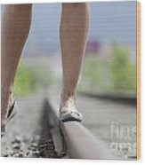 Walking On Railroad Tracks Wood Print