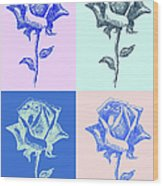 4 Warhol Roses By Punt Wood Print