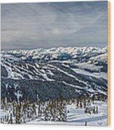 Whistler Mountain Peak View From Blackcomb Wood Print