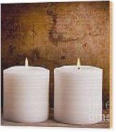 White Candles Wood Print