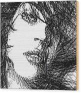 Woman Sketch Wood Print