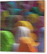 Women In Colorful Saris Gather Wood Print
