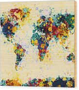 World Map Paint Splashes Wood Print