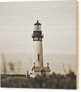 Yaquina Head Lighthouse - Sepia Texture Wood Print