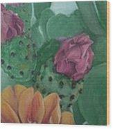 Yellow Cactus Blossom Wood Print