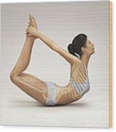 Yoga Bow Pose Wood Print
