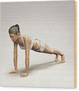 Yoga Plank Pose Wood Print