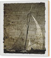40 Sailboat - With Open Wings In A Grunge Background  Wood Print