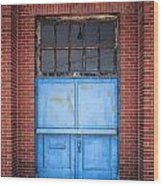 401 Blue Factory Door Wood Print