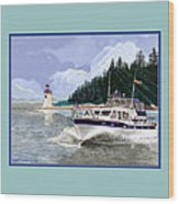 43 Foot Tollycraft Southbound In Clovos Passage Wood Print