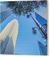 Skyline And City Streets Of Charlotte North Carolina Usa Wood Print