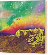Space Landscape Wood Print