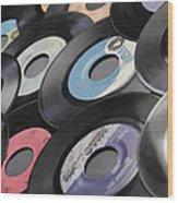 45 Records Nostalgia Wood Print