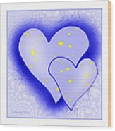 457 - Two Hearts Blue Wood Print
