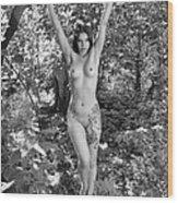 4751 Bw Nude With Black Rose Tattoo  Wood Print