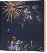 4th Of July Fireworks Wood Print by Eduard Moldoveanu