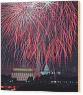 4th Of July Fireworks Wood Print by Mark Whitt