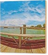 4x1 Anna Maria Island Rod And Reel Pier Wood Print