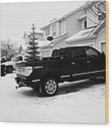 4x4 Pickup Trucks Parked In Driveway In Snow Covered Residential Street During Winter Saskatoon Sask Wood Print