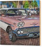 1958 Chevrolet Bel Air Impala Painted  Wood Print