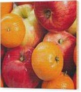 Apple Tangerine And Oranges Wood Print
