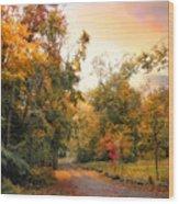 Autumn's Sunset Path Wood Print