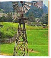 Painting San Simeon Pines Windmill Wood Print