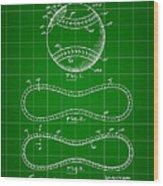 Baseball Patent 1927 - Green Wood Print